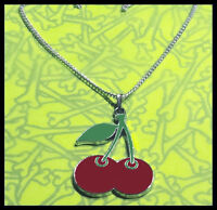 CHERRIES PENDANT NECKLACE ROCKABILLY LARGE RED CHERRY 1.75 INCHES IN SIZE