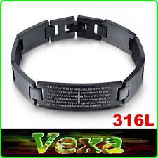 ARMORED 316L Stainless Steel Bracelet Prayer Our Father Bible Wristband UK BR50