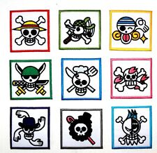 Complete Set One Piece Pirates Skull Flag Symbol Anime Comic Shirt Iron on Patch