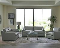 Modern Low Profile 3-Piece Sofa Set Couch Loveseat Chair, Gray Top Grain Leather