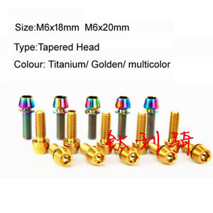 M6*18mm 10pcs Titanium Tapered Head Allen Head For Bicycle Handle Fixed Bolts