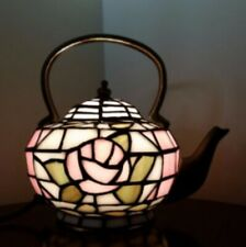 Tiffany Style Table Lamp Teapot Art Handcrafted Light Glass Stained Bedside Desk
