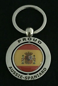 PROUD AUSSIE - SPANIARD METAL KEYCHAIN KEYRING GIFT AUSTRALIAN SPAIN SOUVENIR