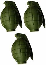 Pack of 3 Kids Army Toy GREEN Hand Grenades -With Flashing Light & sound- HL374