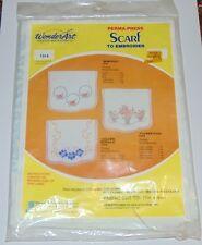 Wonderart Perma-Press Scarf to Embroider FLOWER POTS #1314 sealed dresser scarf