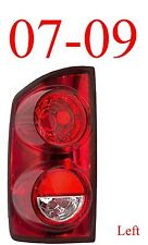 07 09 Dodge Left Tail Light Assembly, Ram, Truck, 1500 2500 & Mega Cab CH2800165