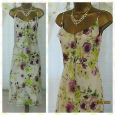 🎀 PER UNA STRAPPY FLORAL CHIFFON FLOATY DRESS UK 14R ~ Summer Holiday Party 🎉