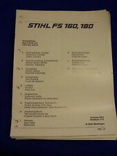 ORIGINAL liste pièces détachées 01/1987 stihl fs 160 et FS180 - rareté