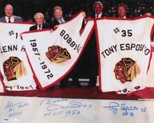 Glenn Hall, Bobby Hull,& Tony Esposito Signed Blackhawks 16x20 Photo (JSA & PSA)