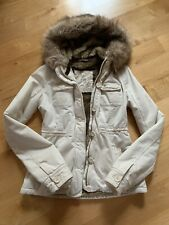 Abercrombie & Fitch Women's Cream Off White Fur Lined Jacket Hooded Coat Small