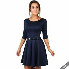 Womens Flared Franki Belted 3 4 Sleeve Top Party Pleated Retro Skirt Party Dress Navy 12