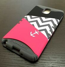 For Samsung Galaxy Note 3 - HARD&SOFT RUBBER HYBRID IMPACT CASE HOT PINK CHEVRON