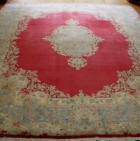 """Gorgeous Floral Kirman Antique 1930's Hand-Knotted Wool Oriental Rug  8'7""""x12'"""