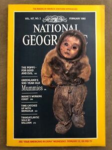 National Geographic Magazine - February 1985 -with Map, Mummies, The Poppy