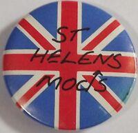 ST.HELENS MODS - Union Jack - Old OG Vtg 1980`s Button Pin Badge 25mm