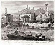Roma:Tempio di Vesta,Santa Maria in Cosmedin.Steel engraving + Passepartout.1838