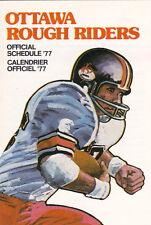 1977 OTTAWA ROUGH RIDERS CFL FOOTBALL POCKET SCHEDULE