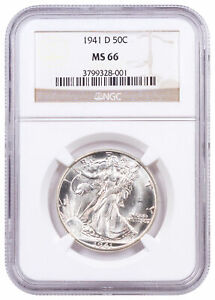 1941 D Silver Walking Liberty Half Dollar NGC MS66 Brown Label