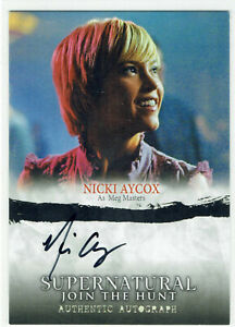 Supernatural Seasons 1-3 Cryptozoic Autograph Card A07 Nicki Aycox Meg Masters