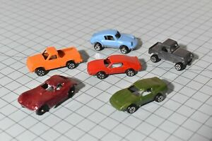 6 small tootsie toy vintage diecast cars mixed lot