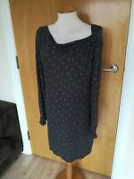 Ladies Dress Size 12 WHITE STUFF Grey Stretch Jersey Spotted Smart Casual Day