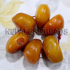 Yellow Resin 6 Beads Tibet Nepal  Nepalese Tibetan Handmade Ethnic Tribal BSS04