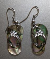 Earrings Flip Flop abalone shell Beautiful and fun Hawaii Rhodium plate hook