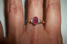 10k yellow gold Ruby Diamond accent ring Vintage signed size 7 1/2