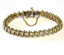 "14k yellow gold 5.25ct diamond S link tennis bracelet 7"" SI2 I1 H 20.2g womens"
