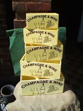 Gorgeous yellow painted wooden storage box/crate with Champagne & Wine design.