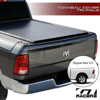 Tri-Fold Soft Tonneau Cover+Rail For 2009-2018 Dodge Ram Rambox 6.4/6.5 Ft Bed
