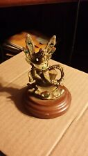 Vintage Fairy Holding Crystal Pewter Figurine on Wood Base