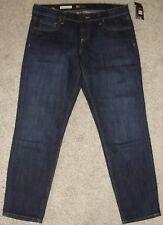 New Womens KUT Jeans Sz 4 Bardot Skinny Boyfriend Dark Wash Factory Faded