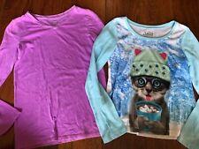 2 girls JUSTICE SHIRTS LOT cat LONG SLEEVE plain purple JEWELS cute SIZE 12