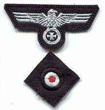 WWII German Heer Cap Set Eagle Iron Cross White on Black Panzer Repro