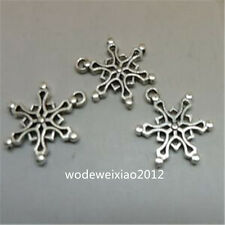 20pc Tibetan Silver Charms Christmas Snowflake Pendant Beads Wholesale  JP926
