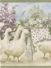 Country Geese With Clothesline Light Green Trim Wallpaper Border