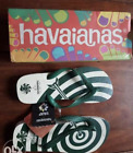 HAVAIANAS WOMENS LIMITED ED UAAP EDITION FLIP FLOPS, WHITE GREEN-size 37/38