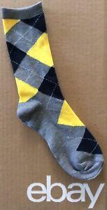 Women's Classic Preppy Argyle Crew Socks Size 9-11 Gray/Navy/Yellow