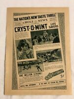 RARE Vintage 1931 LIFE SAVERS AD Cryst-O-Mint The Hole News Sidney Fox reverse