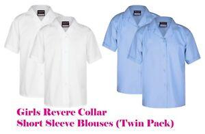 Girls School Uniform Open Neck Revere Collar Blouse Twin Pack Short Sleeve (RST)