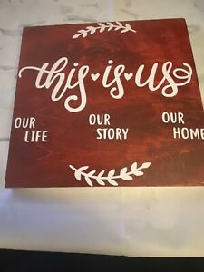 This Is Us Wood Stained Wall Decor 10x10