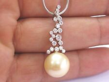 Fine Golden Pearl Diamond White Gold Pendant Necklace 14.2mm .75Ct