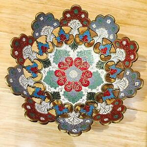 Collectable Brass Fruit Bowl Decorative Bowl Plate Hand Painted Mugal Jaali
