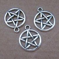 15pcs Pentagram Charms Silver Tone Pentagram pendants 24x28mm