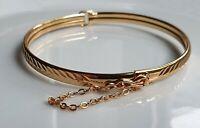 GENUINE 9ct Gold Bracelet Bangle gf, Gorgeous detailed patterned Bangle { w80 }