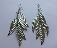 Pair Large Long Silver Leaf Leaves Earrings Stud 4 Pierced Ears Bohemian E122 UK