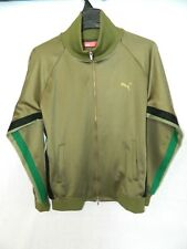 Puma Olive Green Full Zip Track Jacket Mens L Large Jaspo XO  Gold Black Japan