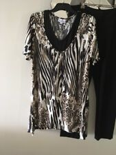 MILLERS Animal Print Black Taupe Cream Short Sleeve Stretch Tunic Top Blouse 14