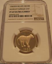Belize 1983 FM Gold $100 NGC PF-69UC Margay Jungle Cat Mintage - 494